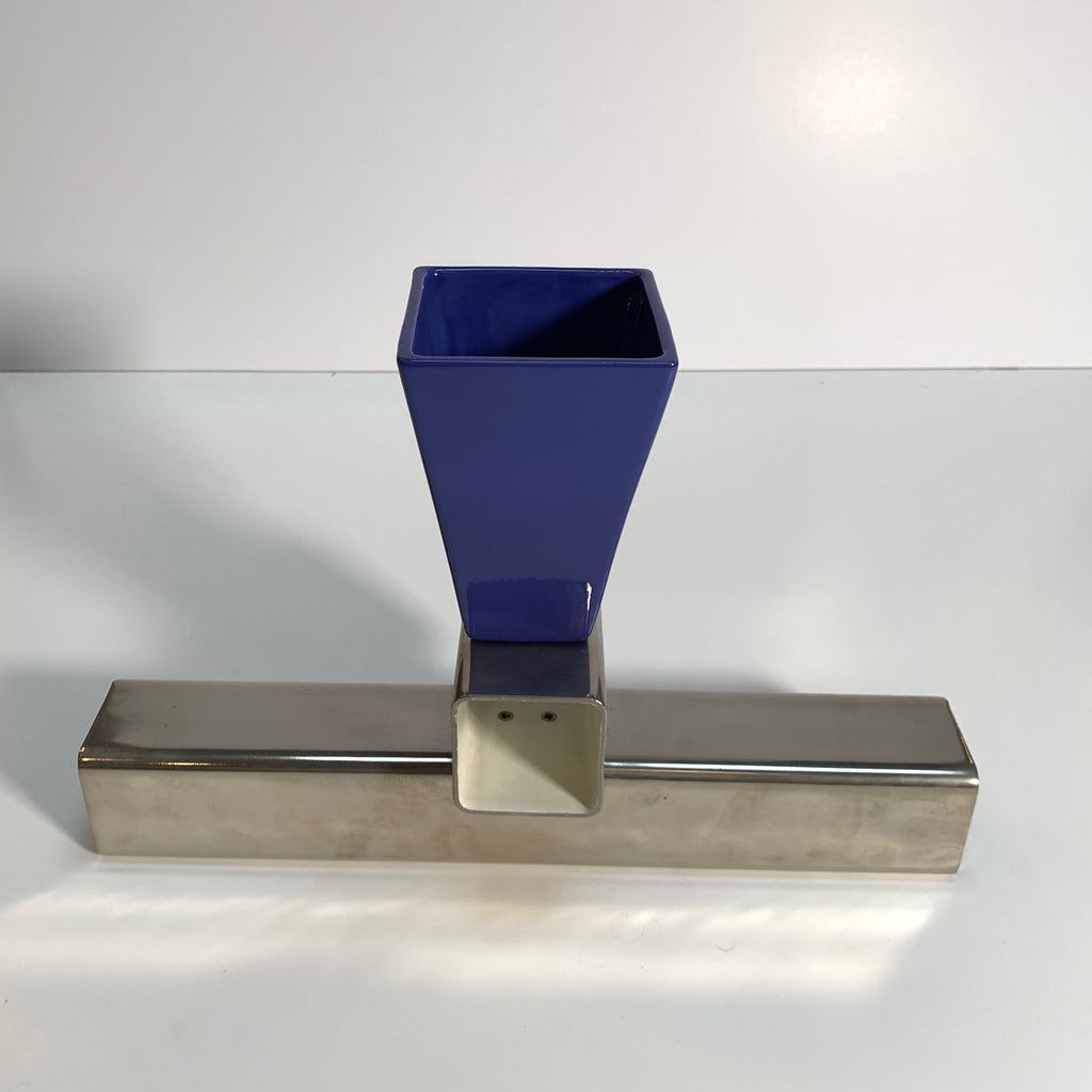 Giotto Ceramic Blue/Metal Vase by Johanna Grawunder, 1991