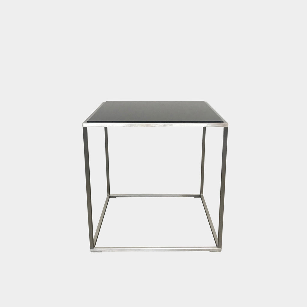 Living Divani Black Glass 'ILE' Side Table by Piero Lissoni
