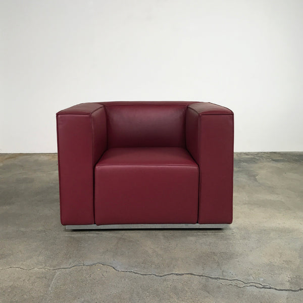 Cassina burgundy leather 180 Blox Lounge Chair by Jehs + Laub