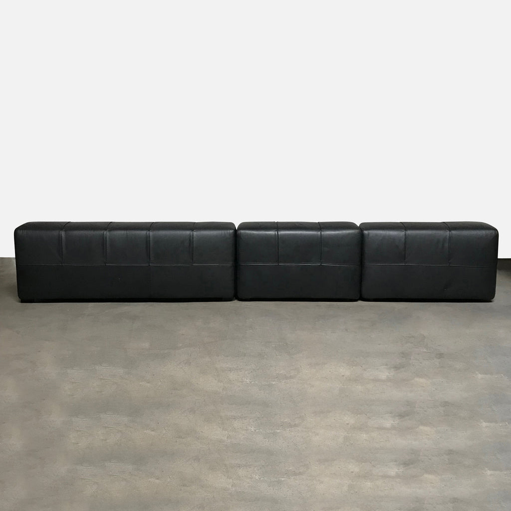 B&B Italia Black Leather Tufty Time Sofa