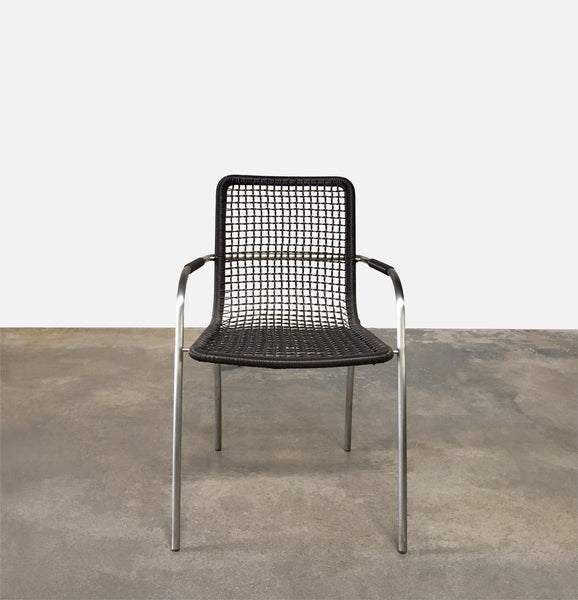 Brown Plastic Mesh Indoor Outdoor Dining Chair