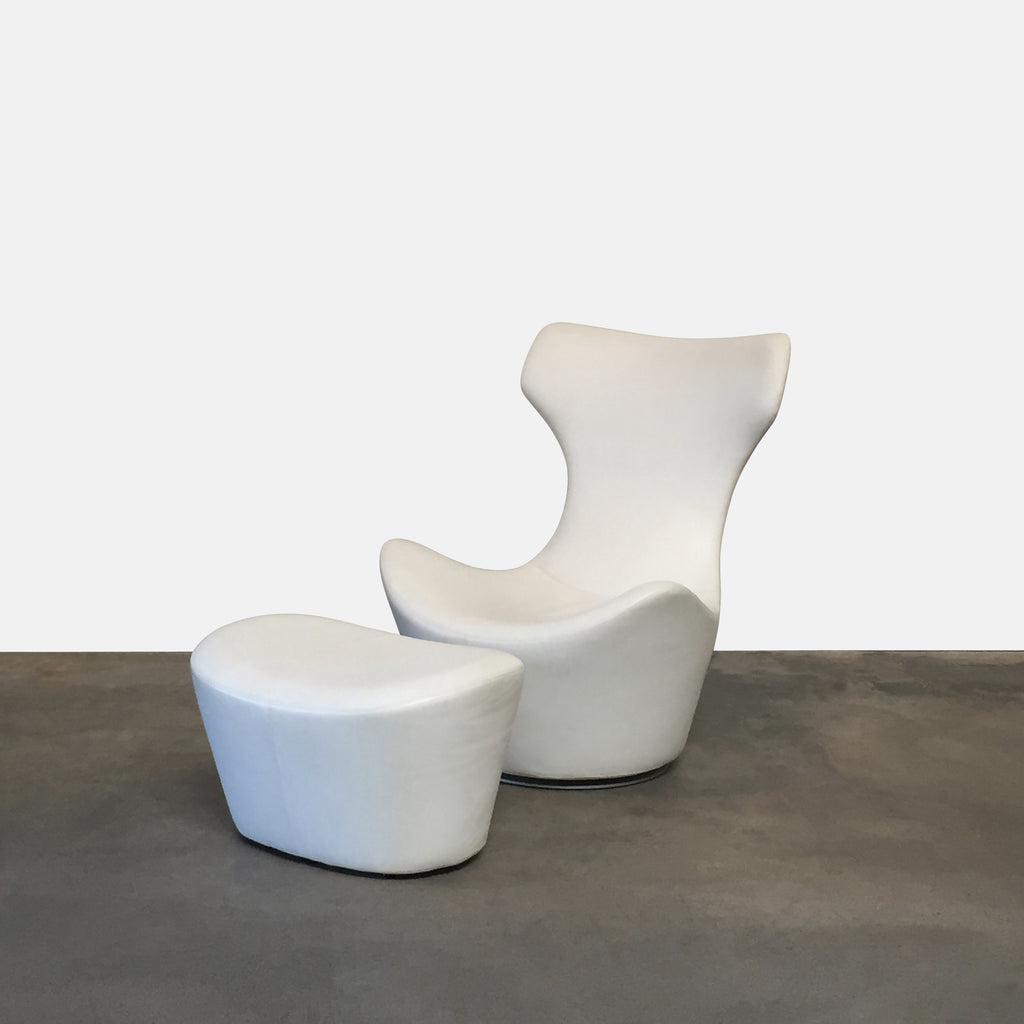 B&B Italia 'Grande Papilio' White Leather Lounge Chair Naoto Fukasawa