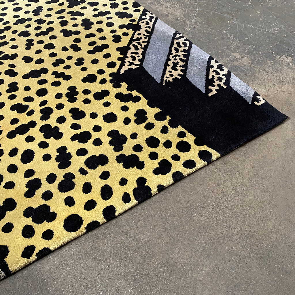 Vintage Ettore Sottsass Rug Detail. Blue and yellow with black spots