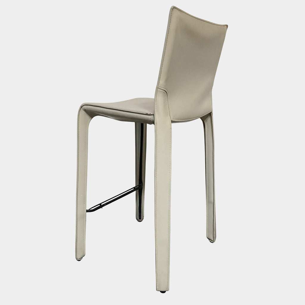 Cassina Ivory Leather Cab 410 Bar Stool by Mario Bellini