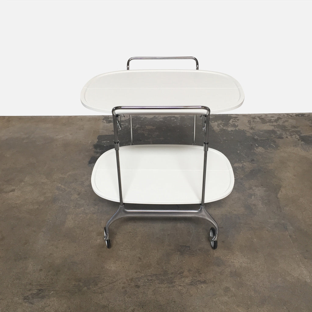 Kartell White Folding Bar Cart Gastone Trolley by Antonio Citterio