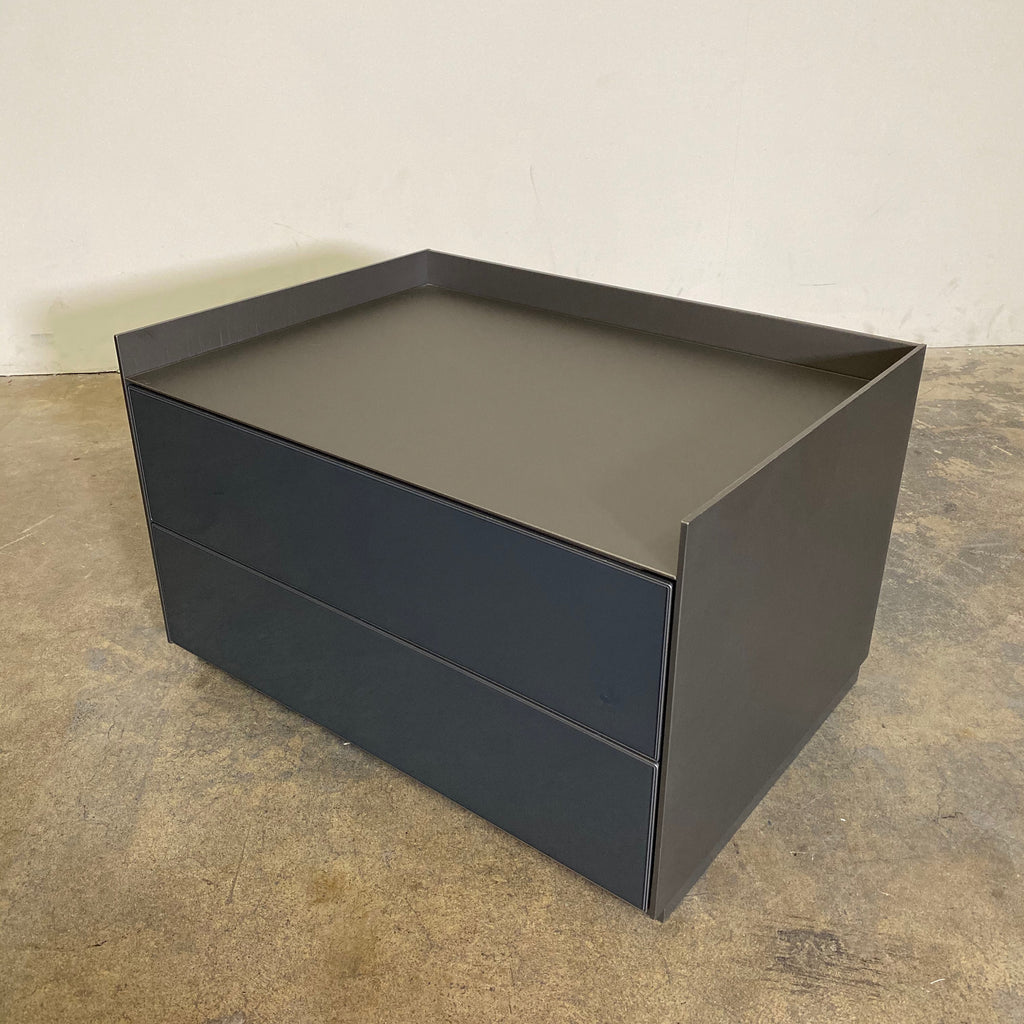 Side view Rimadesio Self Bold Nightstands by Giuseppe Bavuso. Gray and Bronze
