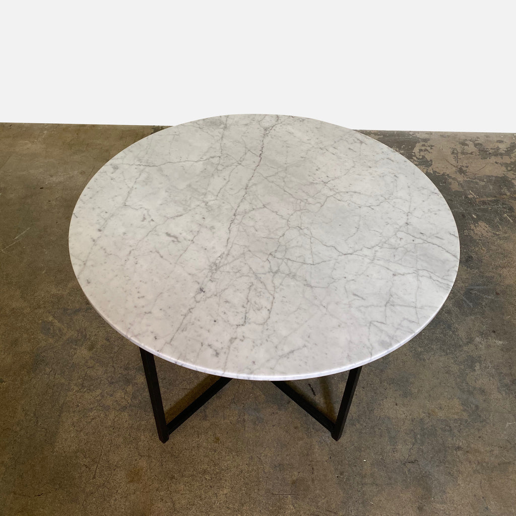 carrera marble top showing veining.