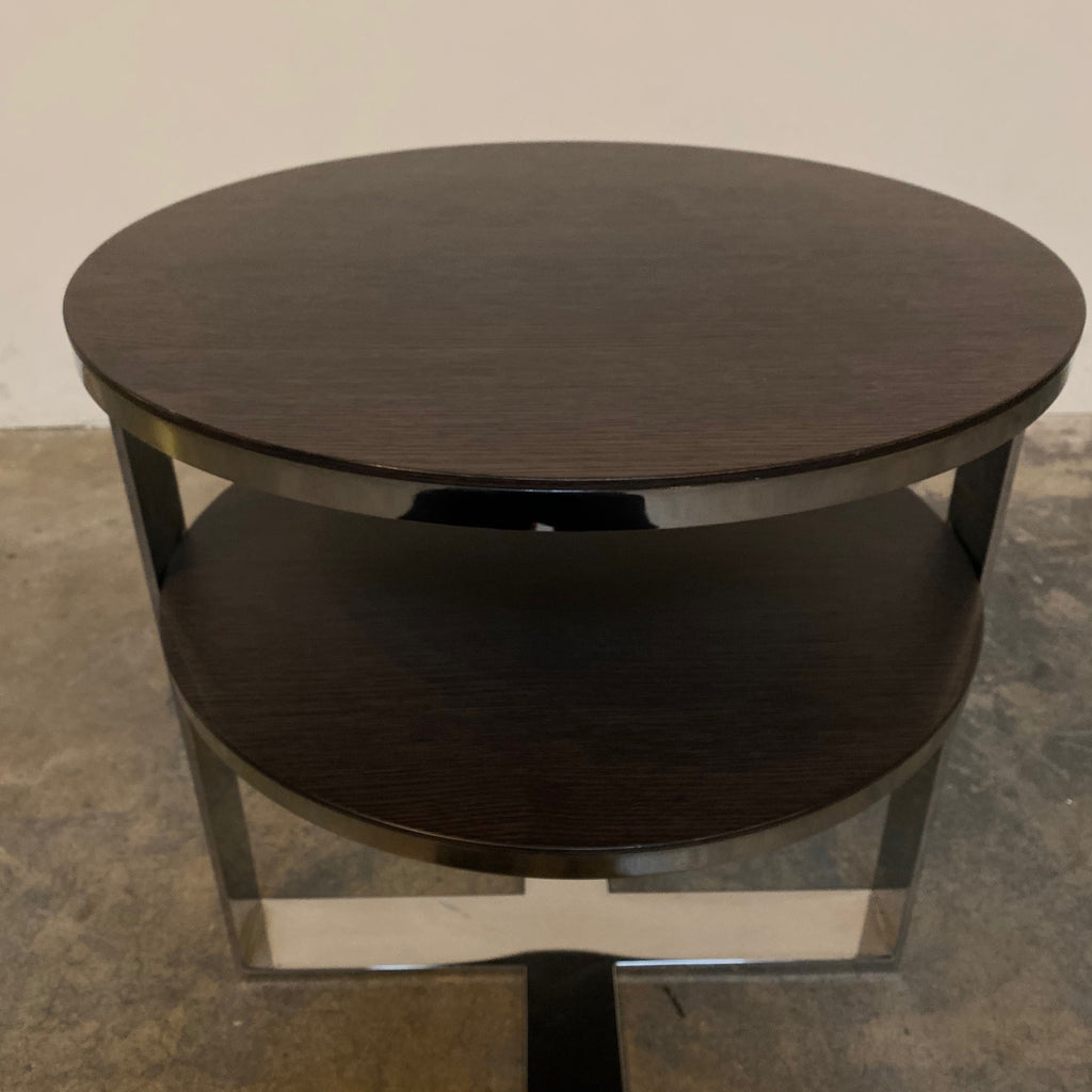 Detail Shot B&B Italia Eileen Side Table with black oak top and Chrome Frame| Modern Resale | Los Angeles