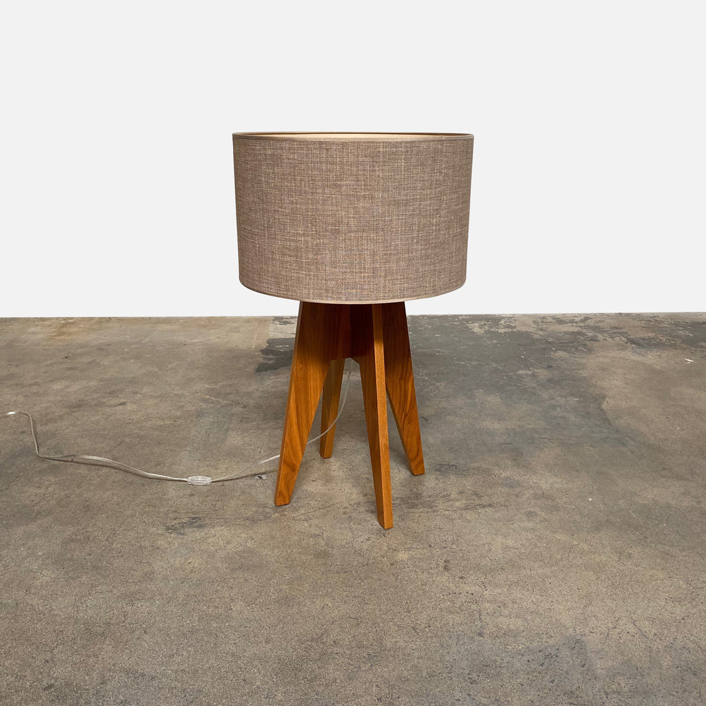 Roche Bobois Opera Table Lamp Wood Base Neutral Fabric Shade | Los Angeles | Consignment