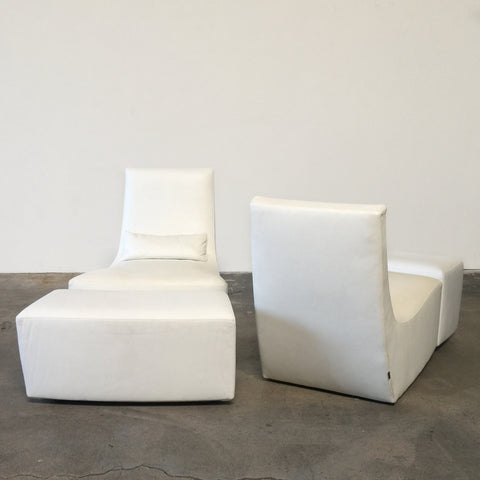 Ligne Roset White Leather Neo Rocking Chair & Ottoman | Los Angeles