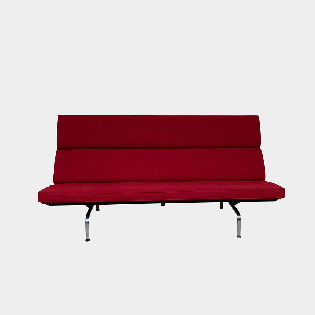 Herman Miller Red Fabric Compact Sofa by Charles and Ray Eames. Showroom sample and in stock. Save thousands of dollars online or in our designer furniture outlet. Shop upscale furniture consignment from Los Angeles elite homes, showroom closings, overstock & liquidations. 40-70% discount below retail.
