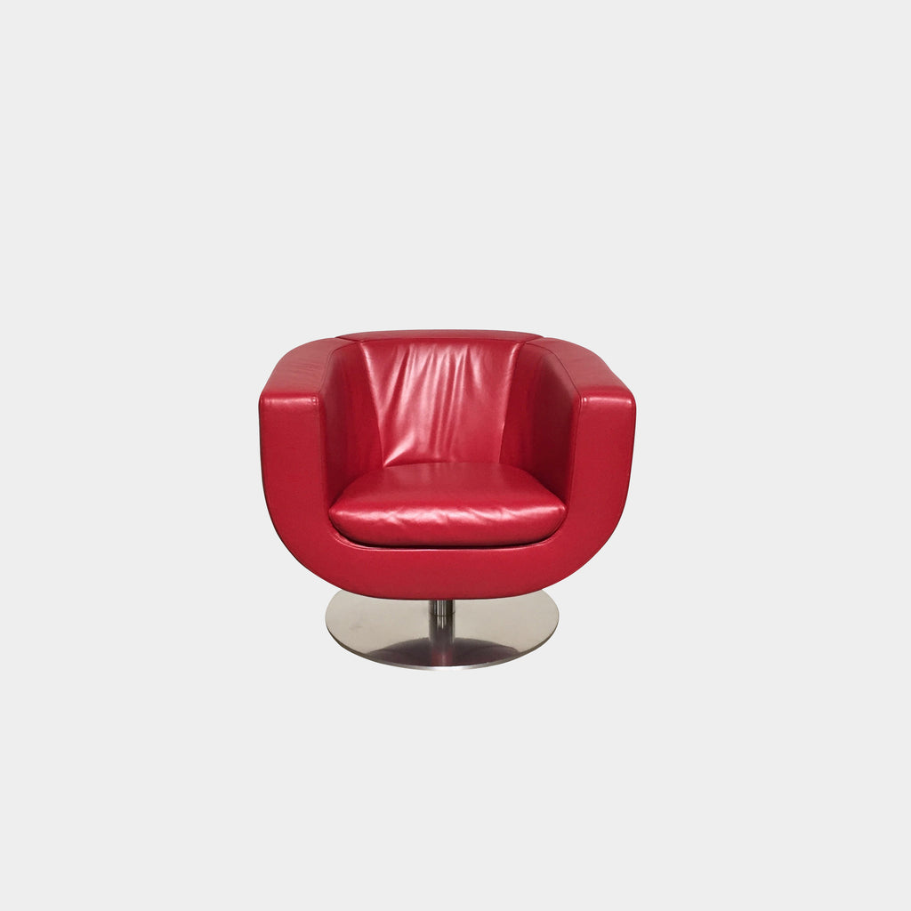 B&B Italia Red Leather Tulip Swivel Armchair by Jeffrey Bernett