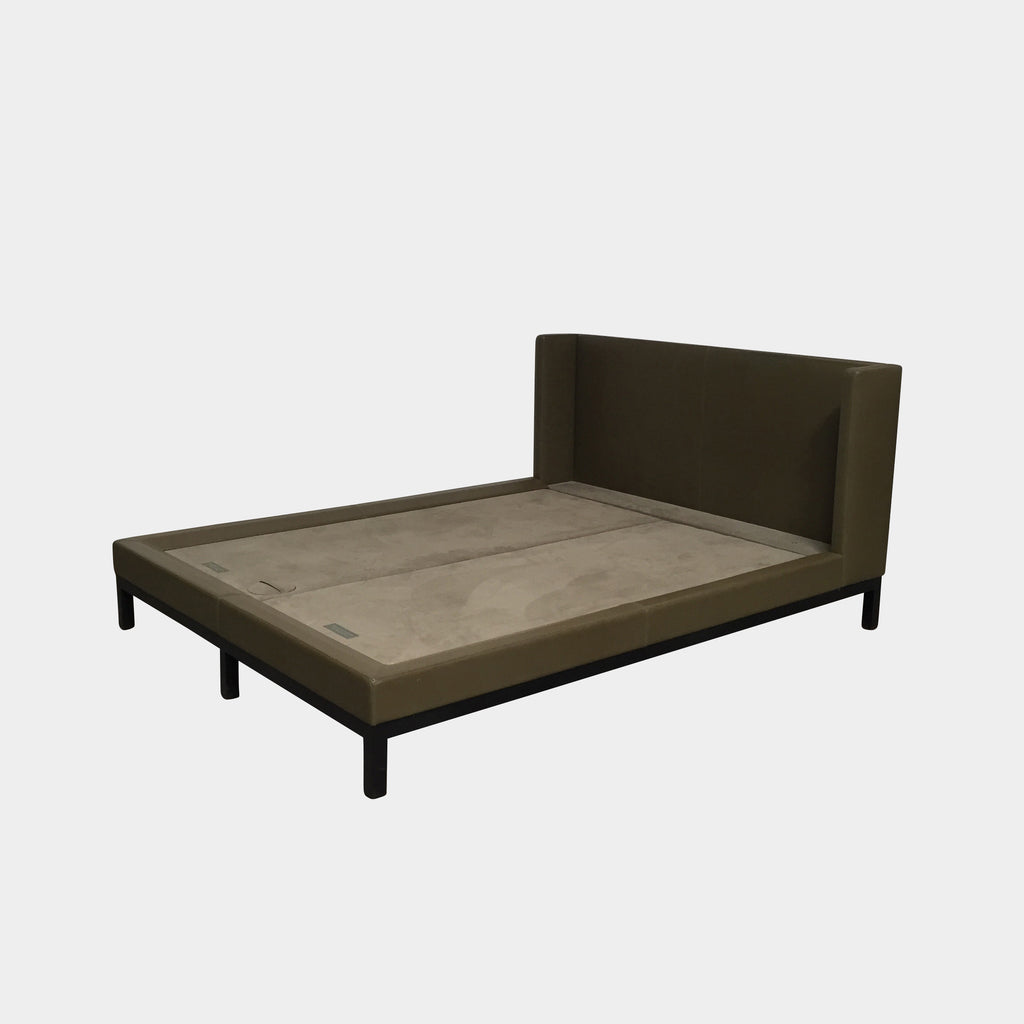 Holly Hunt Olive Green Leather Oman Queen Bed by Christian Liagre