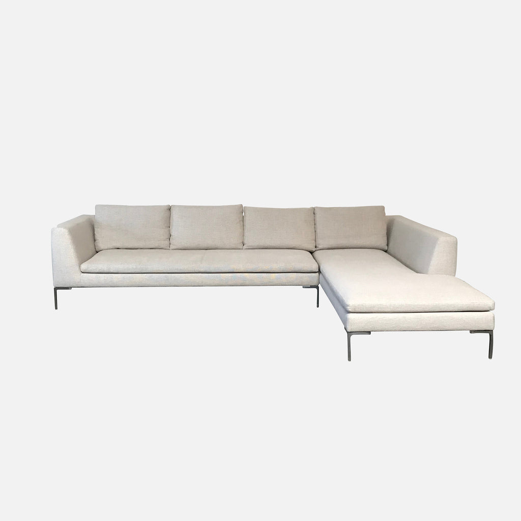 B&B Italia Ecru Fabric Charles Sectional by Antonio Citterio
