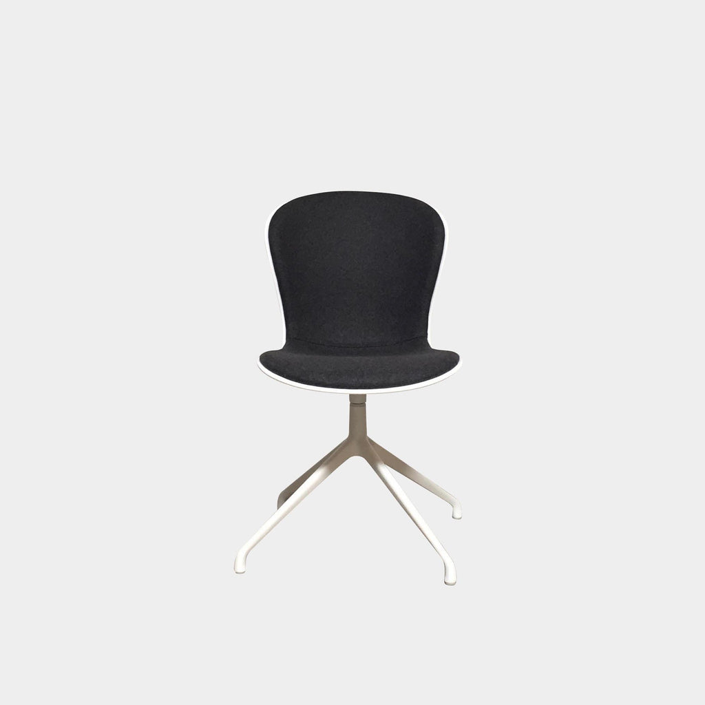 Bo Concept Adelaide Swivel Dining Chairs White Frame Gray Wool Seat