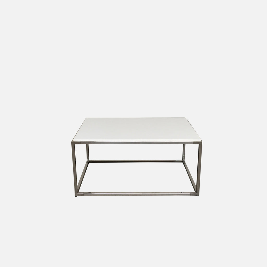 White & Chrome Coffee Table, Coffee Table - Modern Resale