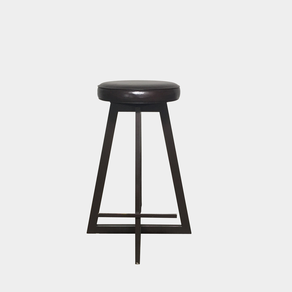 Cross-Base Bar Metal Stools with Leather Seats From Orange Los Angeles