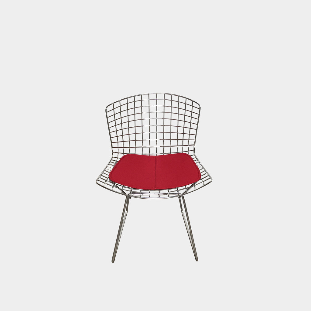 Knoll Bertoia Side Chairs Chrome with Red Fabric Seat Pad