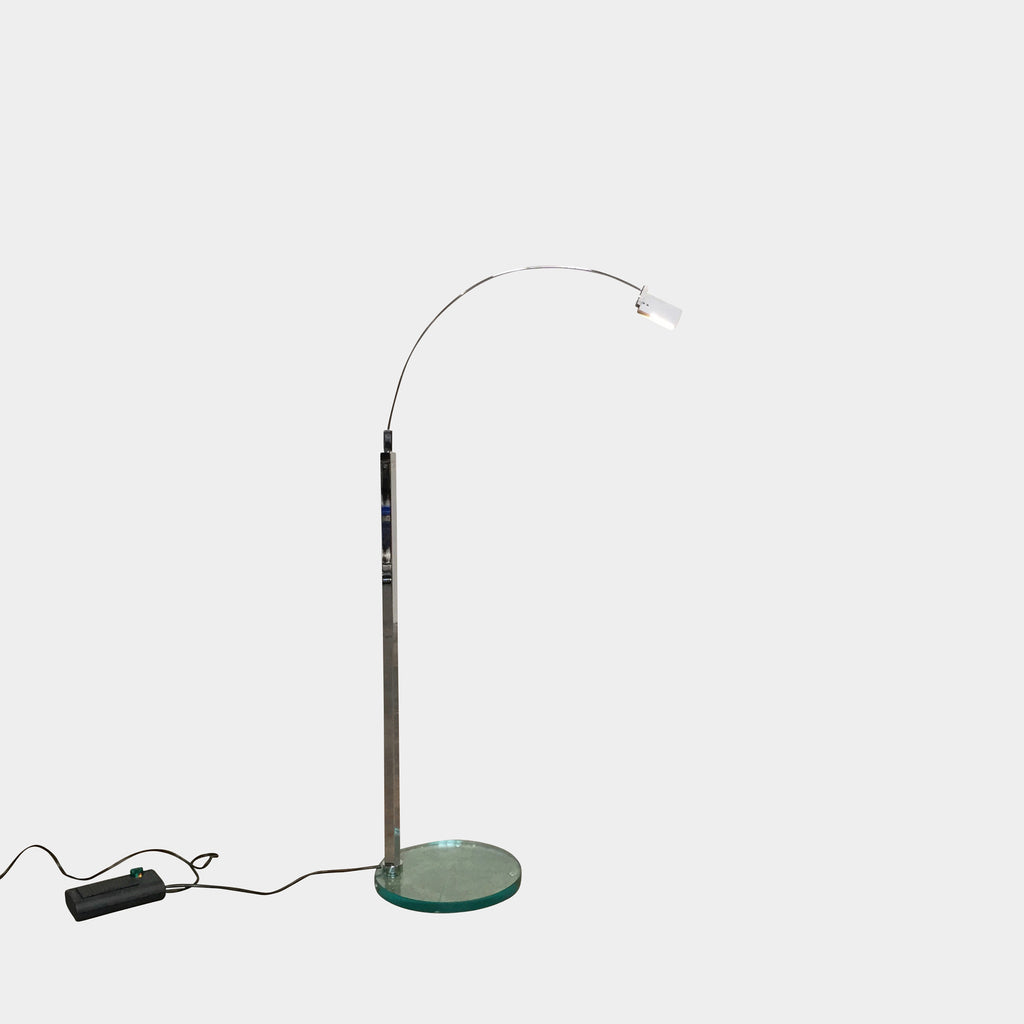 "Fontana Arte 'Falena' Floor Lamp by Alvaro Siza. Designed in 1994. Made of Aluminum, Chrome-Plated Metal and Glass. Dimensions: 20"" W x 20"" D x 40.75""H Available immediately in stock and we will ship anywhere."