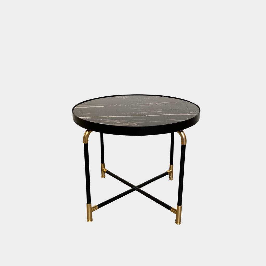 Ivano Redaelli 'Aston' Side Table  The 'Aston' is a standout side table with lux black portoro marble top and contrasting brass details.  MODERN RESALE LOS ANGELES TOP BRAND CONSIGNMENT