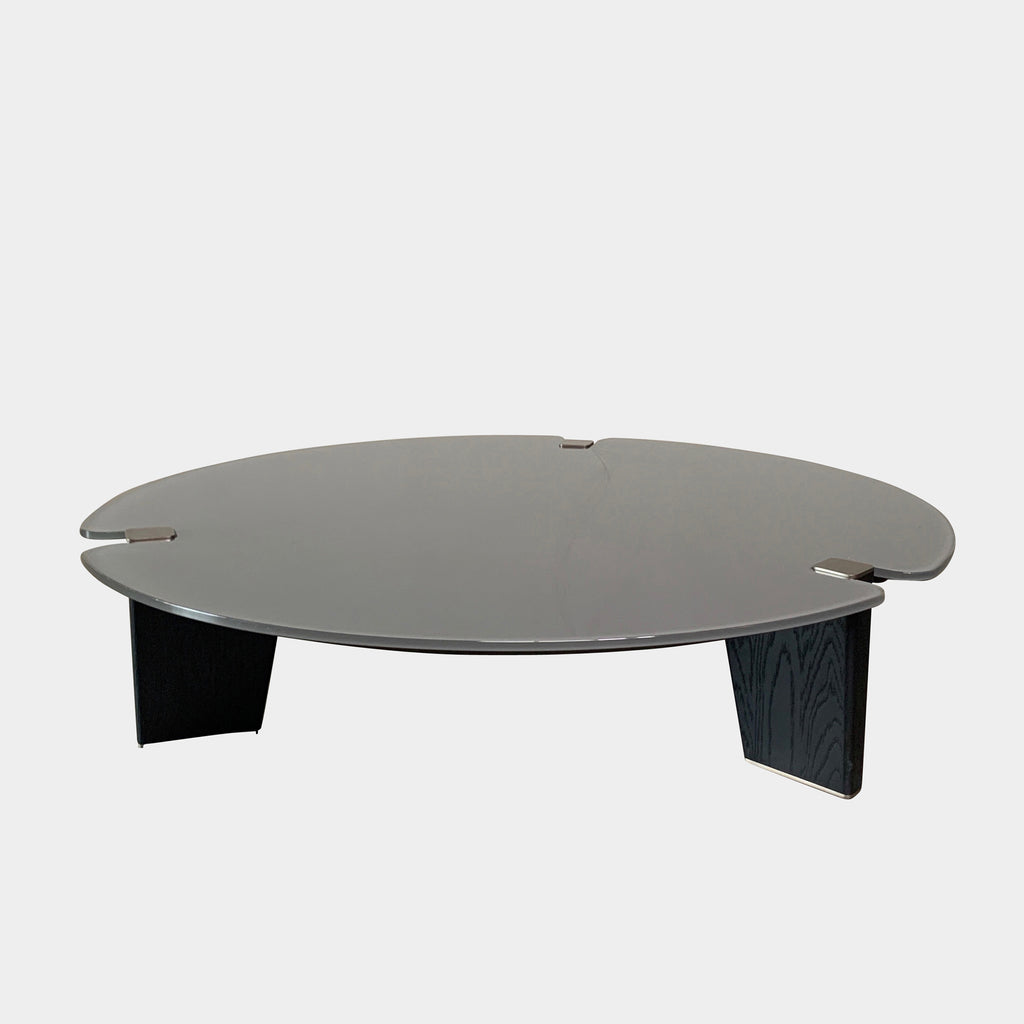 Minotti 'Jacob' Coffee Table by Rodolfo Dordoni, Gray glass top, black wooden legs and metal details. On sale at Modern Resale in Los Angeles.