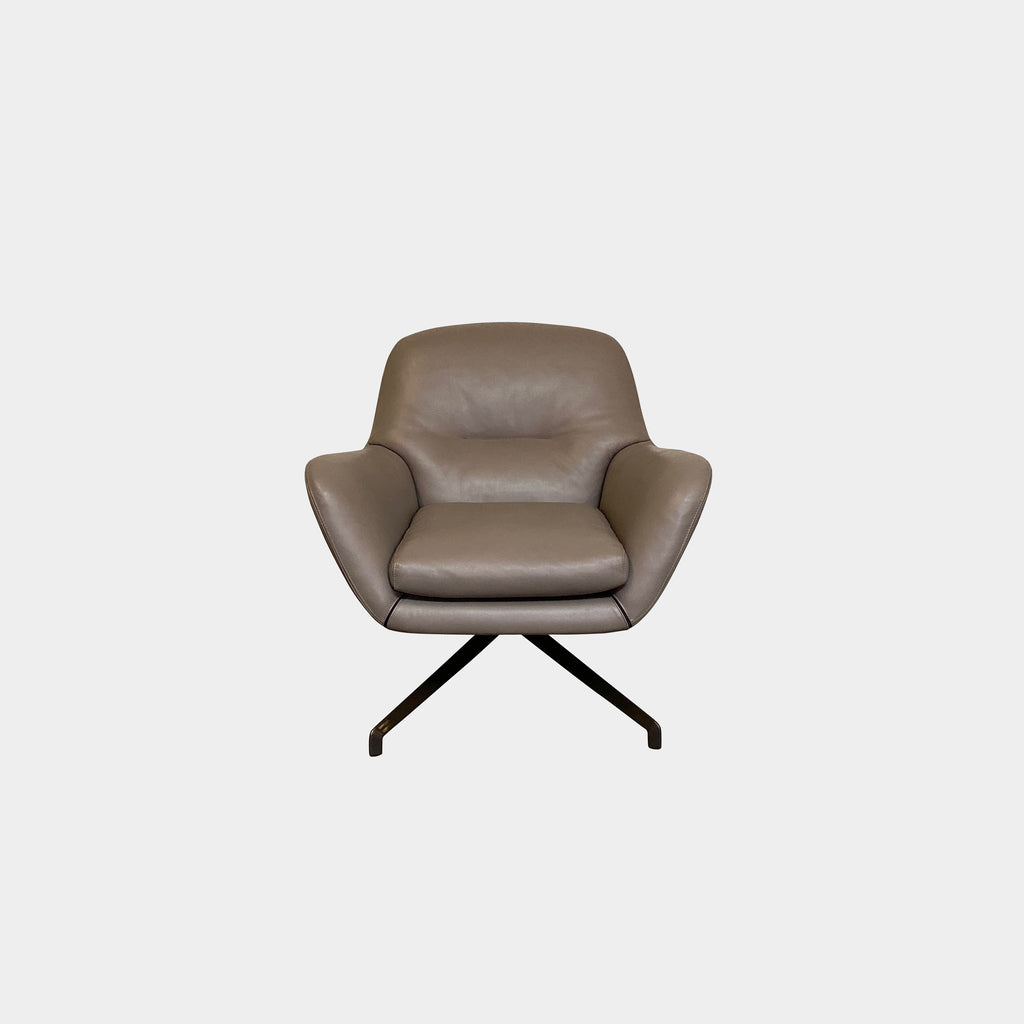 Minotti 'Jensen' Swivel Armchair By Rodolfo Dordoni - soft dark taupe leather