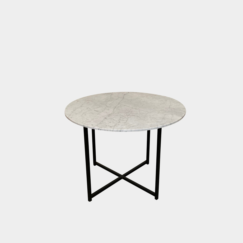 modern carrera marble side table with black iron base