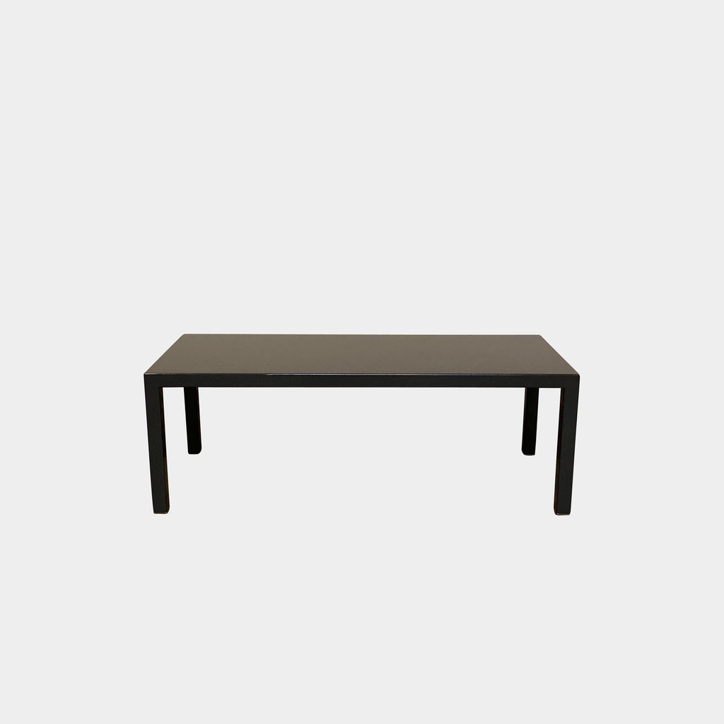 Minotti Lacquer Bench  The very simple shape of this bench lets the glossy gray lacquer shine as a material. It's perfect for a side table next to a deep sofa or chaise lounge.  Los Angeles Luxury Consignment