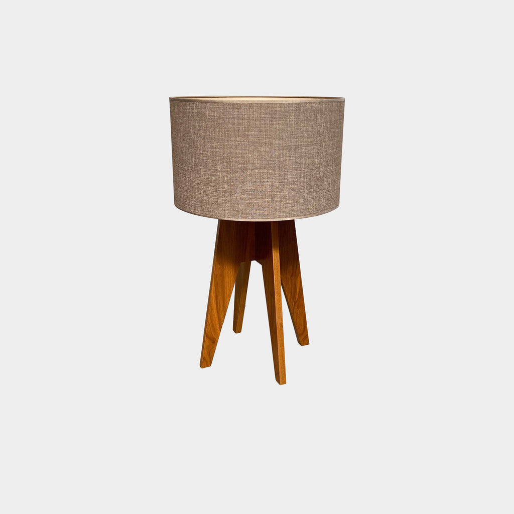 Roche Bobois 'Opera' Table Lamp - Walnut base - Flax Shade - Los Angeles - Modern Resale