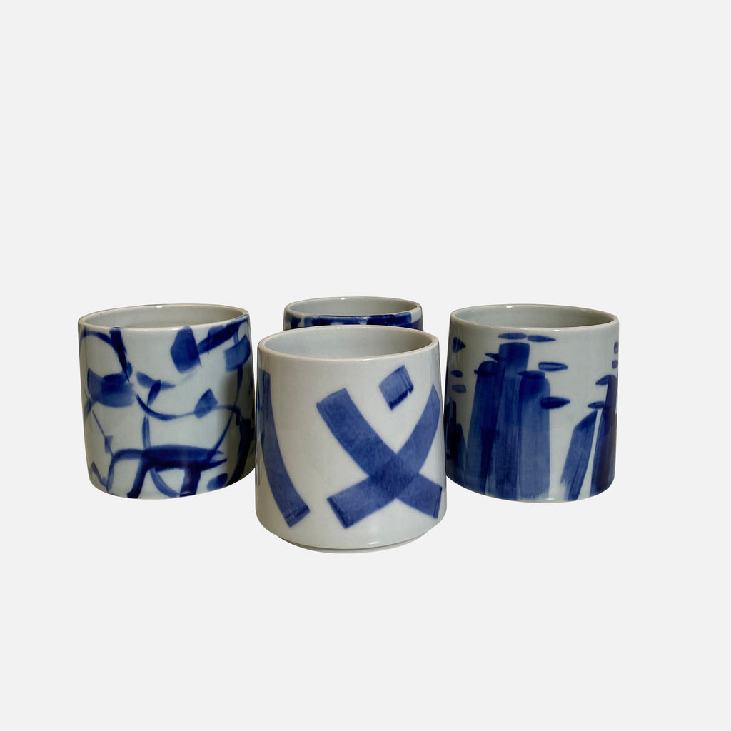 Something Blue Small Ceramic Vases by Agnes Fries in collaboration with Giada Yeya Montomoli