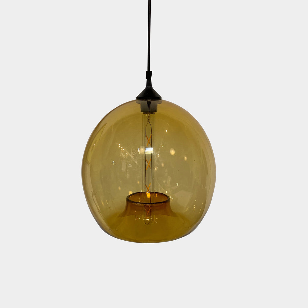 Niche 'Stamen' Pendant Light by Jeremy Pyles  Beautiful amber colored bubble of light.  Light Bulb: Tubular Dimmable Incandescent 120V/75W  Material: Hand Blown Glass - Los Angeles - Modern Resale - Consignment