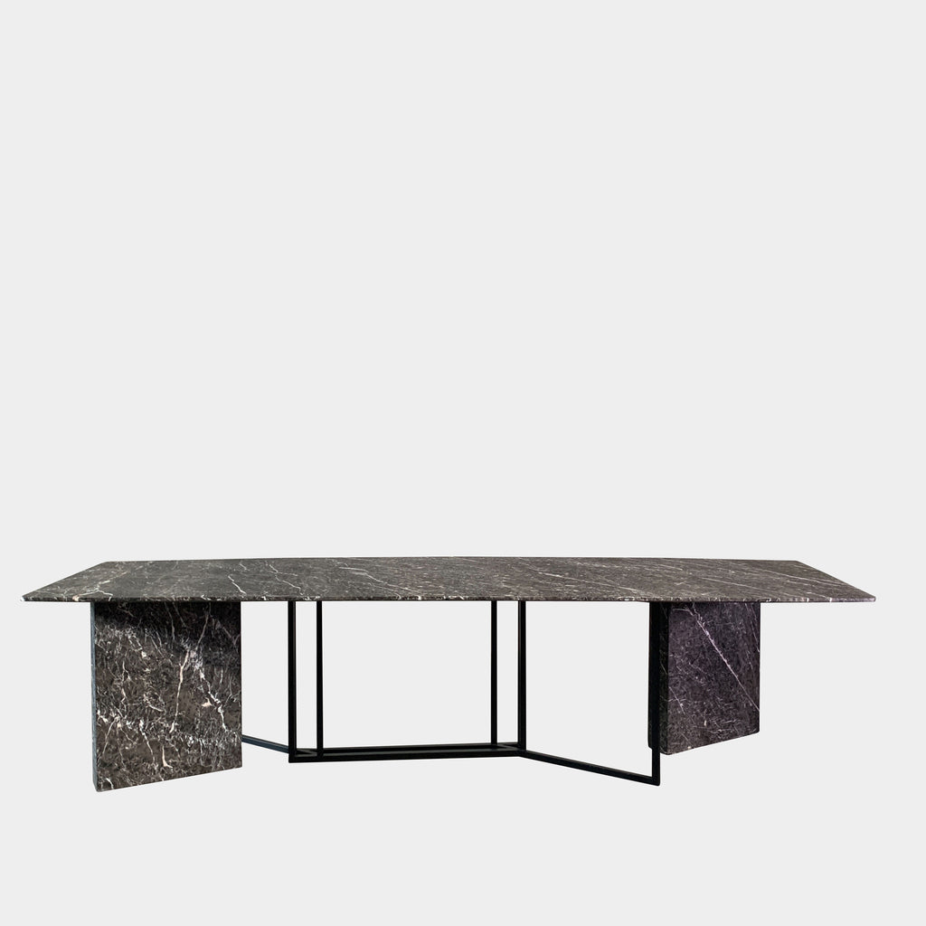 Custom Black Acid Washed Marble Dining Table. A Modern Luxury Piece. Los Angeles