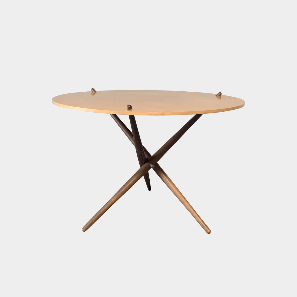 Knoll 'Folding Tripod Table' by Hans Bellmann. Light wood top with darker wood base