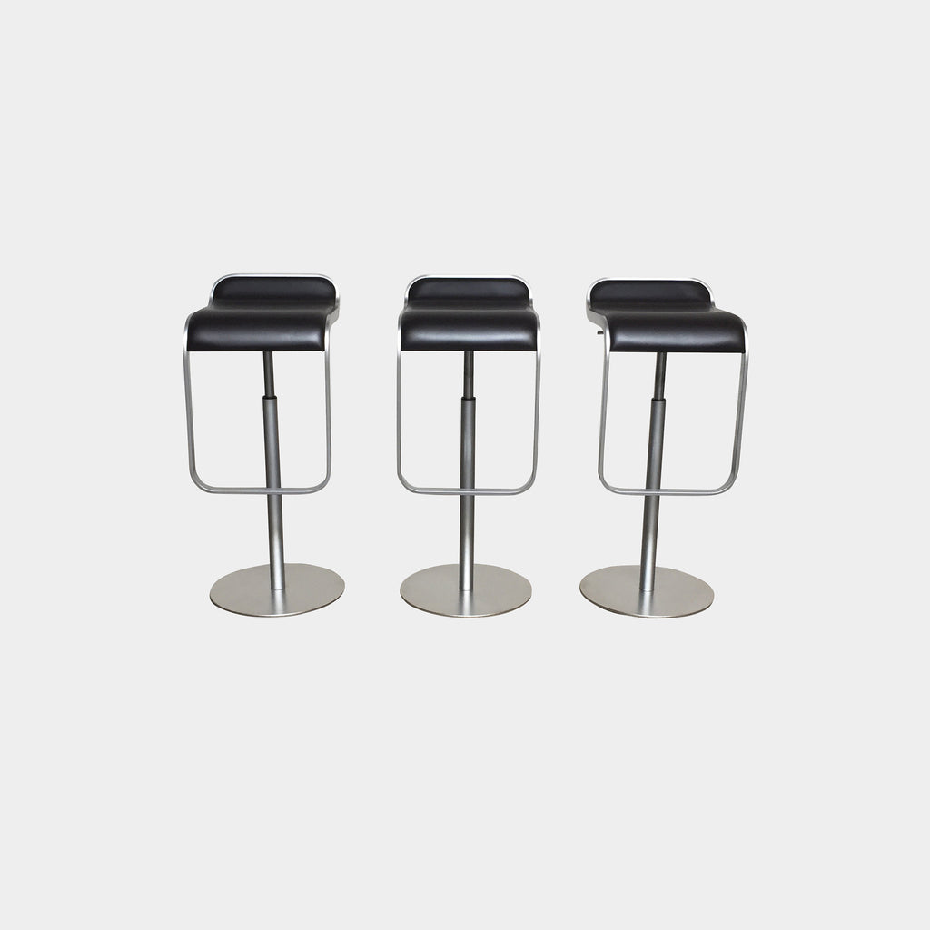 Brown Leather LEM Piston Stool (Set Of 3)