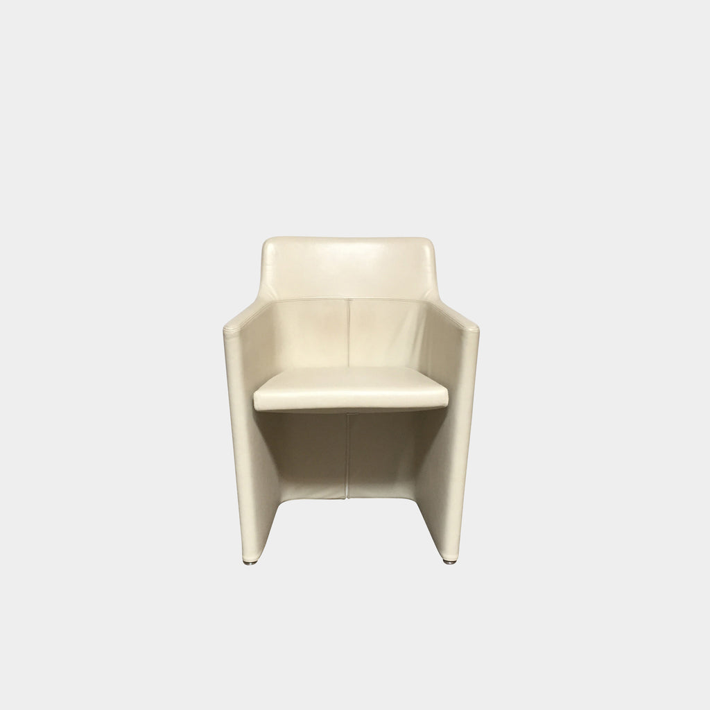 "Molteni & C 'Lyz' Armchair Cream color leather upholstery, chrome base. Dimensions: 23""W x 18""D x 30""H Seat Height: 18"" 