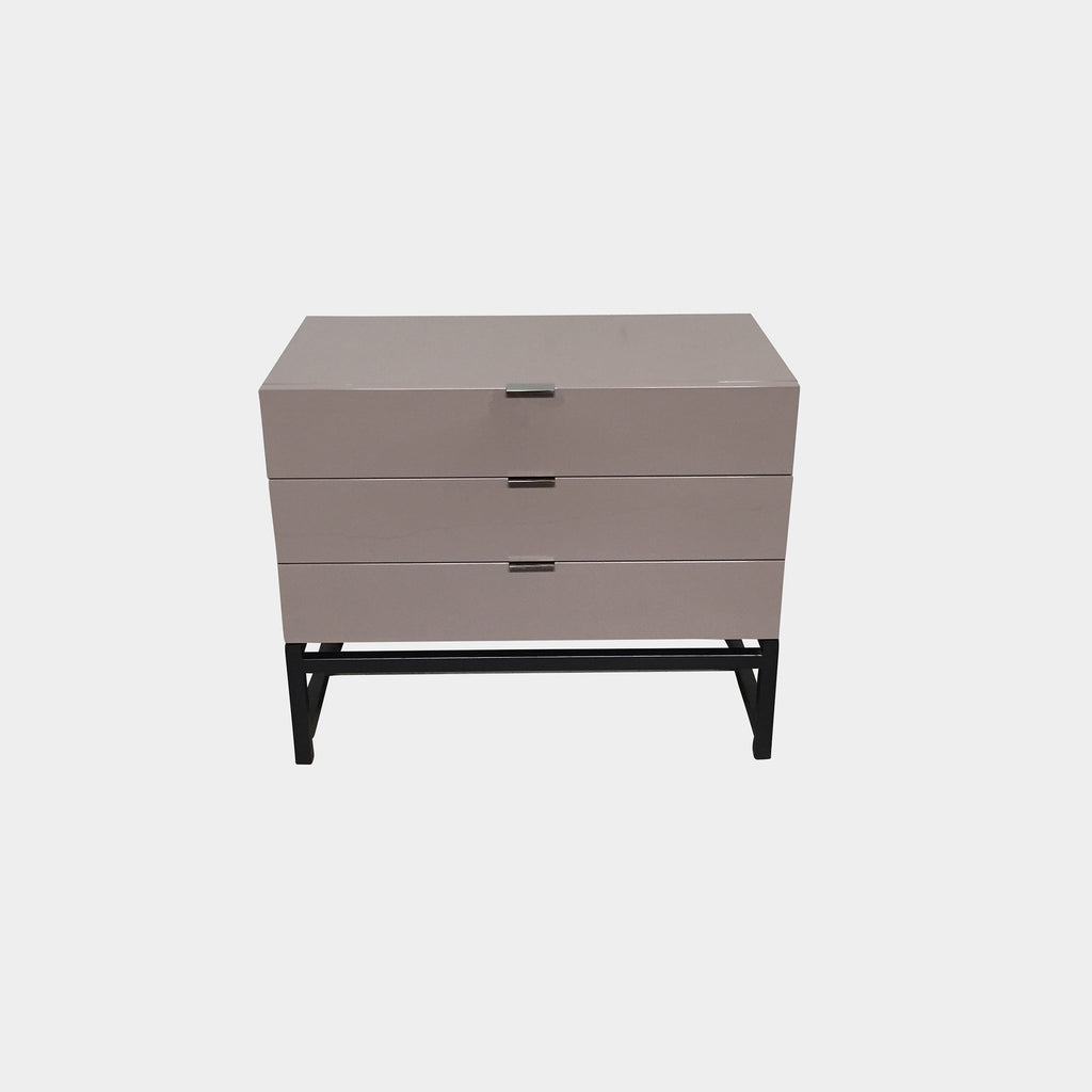 Minotti Taupe Glossy Lacquer Harvey Chest of Drawers Set of 2