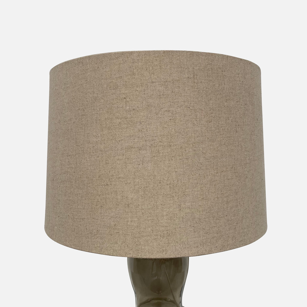 Gray Glass Table Lamps With Natural Linen Shades  (2 in Stock), Table Lamp - Modern Resale