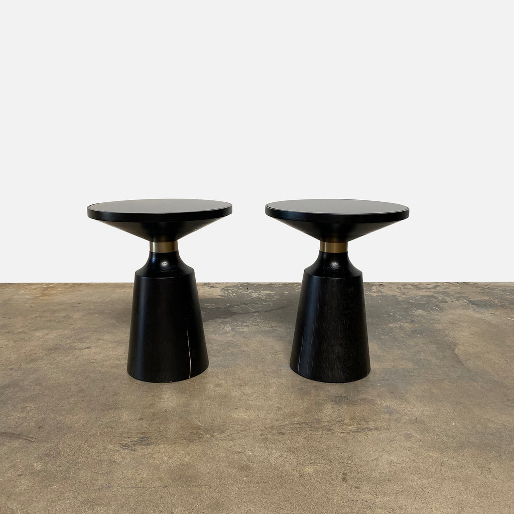 Black Wood and Brushed Gold Side Tables, Side Table - Modern Resale