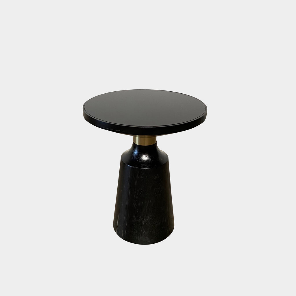 Black Wood and Brushed Gold Side Tables (2 in Stock) - Modern Resale