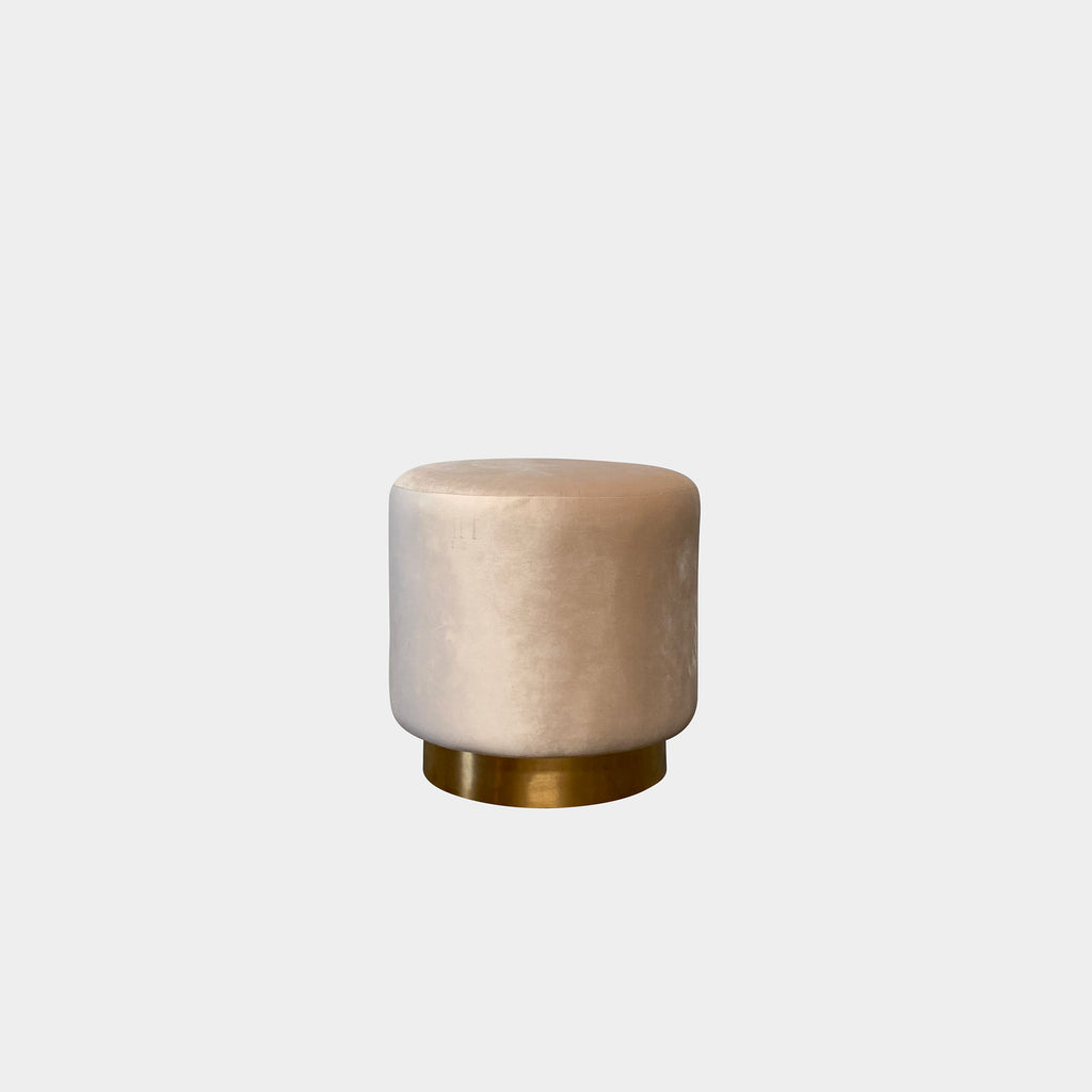 Blush Velvet Pouf / Stool with Brushed Gold