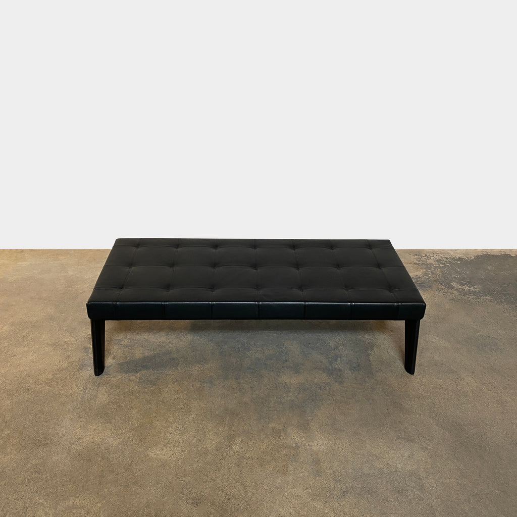 Kirk Black Leather Bench, Bench - Modern Resale