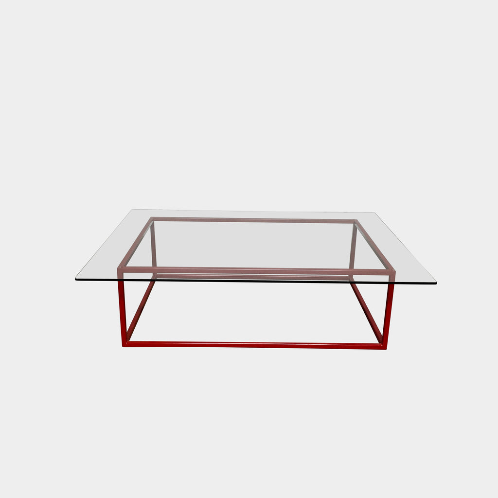 Glass Coffee Table with Red Base