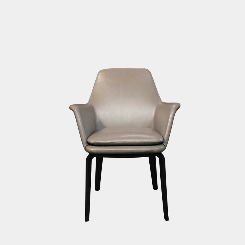 Minotti York Dining Chair Grey Leather Dining Chair