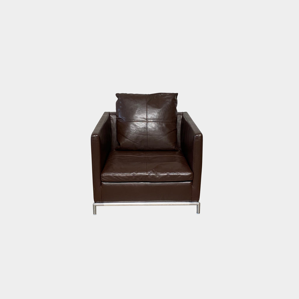 B&B Italia George Armchairs. These sophisticated B&B Italia classics in rich chocolate brown leather with polished aluminum base have lasting appeal.