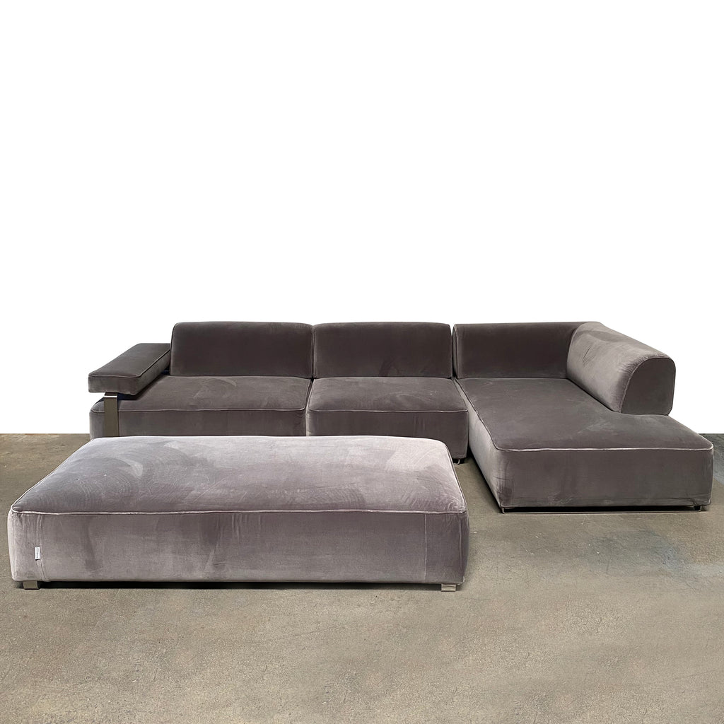 Cannes Right-Chaise Sectional + Ottoman, Sectional - Modern Resale