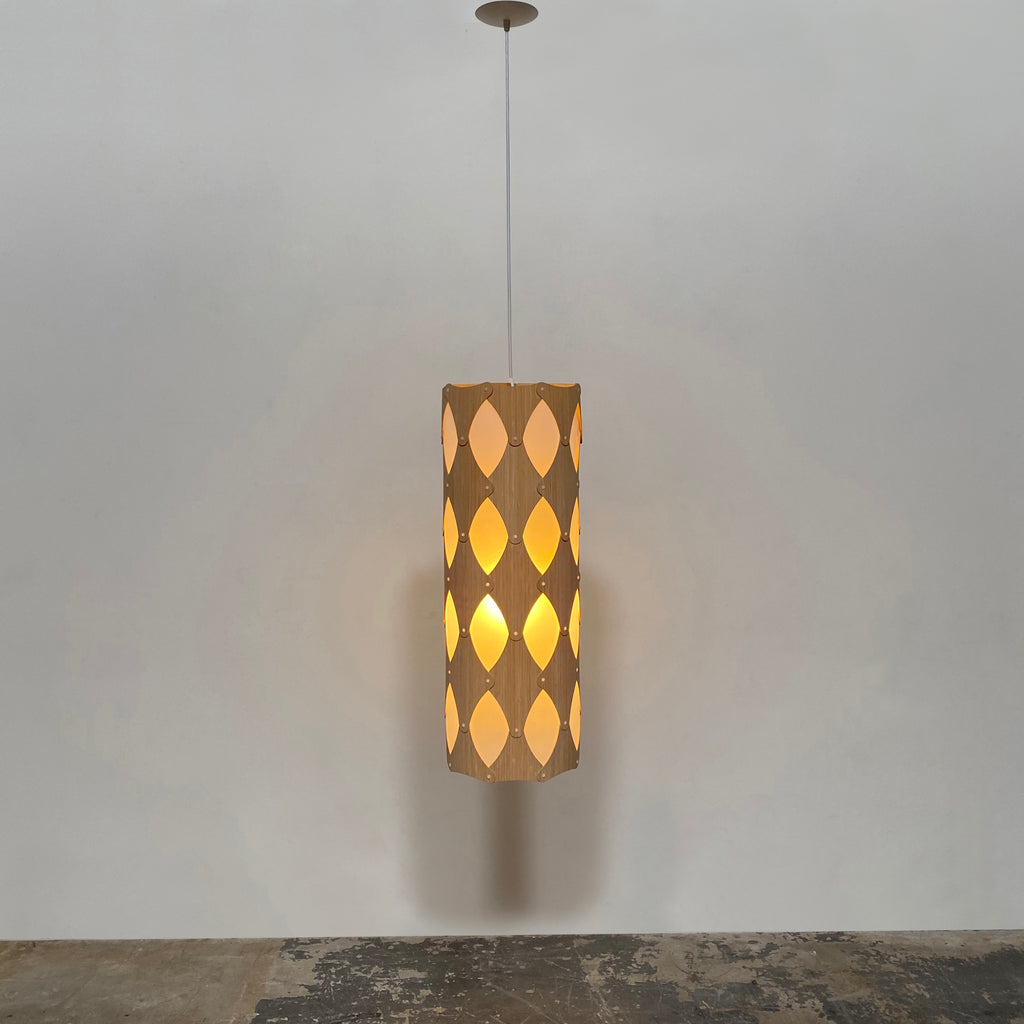 David Trubridge 'IKA' Tall Cylinder-Shaped Ceiling Light made from Natural Bamboo