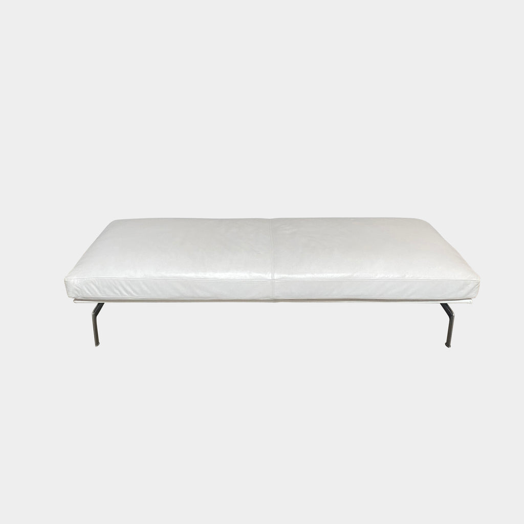 Diesis White Leather Bench, Bench - Modern Resale
