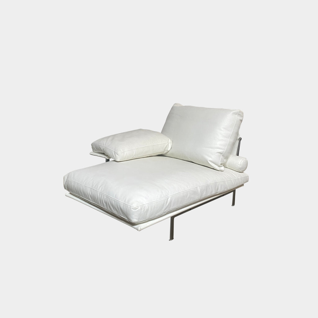Diesis White Leather Chaise Lounge, Chaise Lounge - Modern Resale