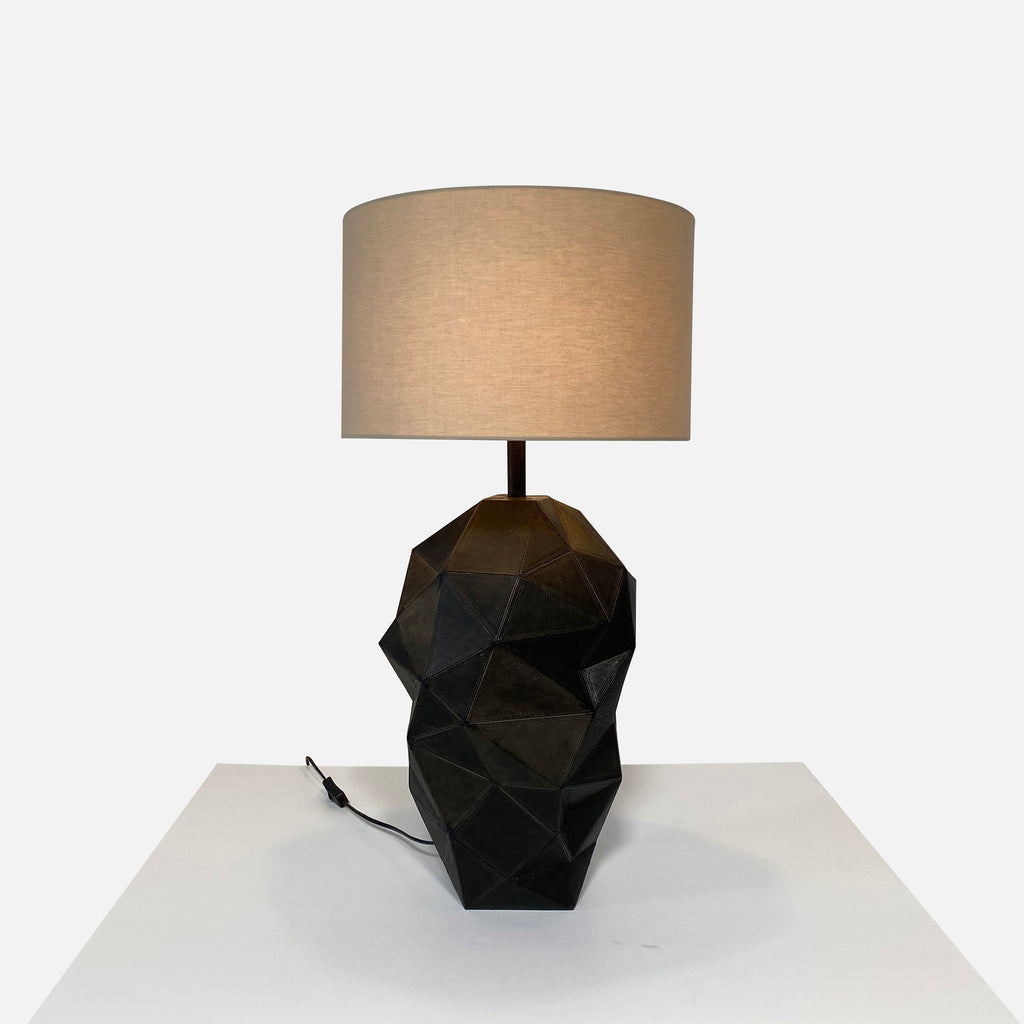 Gilles Caffier Paris 'Abstract Geometric' Black Leather Table Lamp - Limited Edition