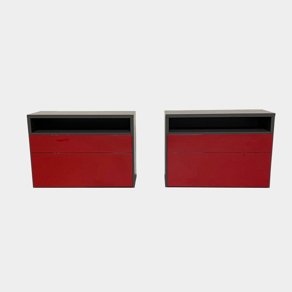 Ligne Roset SG Modo Nightstand. nice and roomy allowing for ample storage and surface area. Frame in Anthracite Gray Matte Lacquer Drawer Fronts in Red High Gloss Amarena